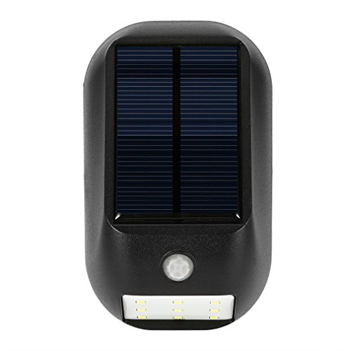 Price comparison product image ICOCO Solar Lights Bright 9 LED Solar Or Battery Power Led Security Lights with Motion Sensor Activated Auto On / Off Wireless Waterproof Wall Lights for Diveway Patio Walkway Stairs Garden Path & Black