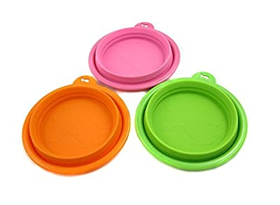Lychee Silicon Pet Cat Dog Expandable Collapsible Foldable Travel Bowl Dish Feeder Set of 3 - Color: Orange Green and Pink