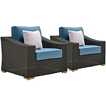 this item lazboy outdoor new boston resin wicker patio furniture lounge chairs 2 pack denim blue with all weather sunbrella cushions - Resin Wicker Patio Furniture
