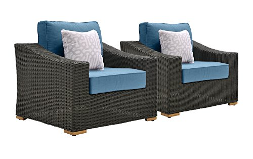Cheap La-Z-Boy Outdoor New Boston Resin Wicker Patio Furniture Lounge Chairs (2 Pack), Denim Blue With All Weather Sunbrella Cushions