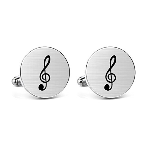 MUEEU Engraved Music Note Cufflinks Treble Clef Men's French Shirt Music Musician's Gifts (Treble Round Cufflinks) (The Wedding Singer Best Man Speech)