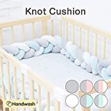 Wonder Space Soft Knot Plush Pillow - Baby Crib Bumper, Fashion Nursery Cradle Decor for Baby Toddler and Childern (Blue/Grey/White, 118IN / 3M)