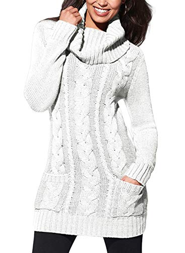 Neck Cable Knit Long Sleeve Slim Sweater Jumper Large White ()