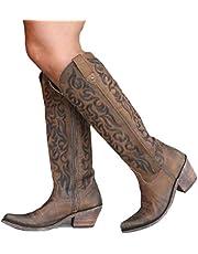 Vrouwen Hoge Borduurwerk Laarzen Western Cowboy Ridder Laarzen Hoge Hak Vintage Puntschoen Lange Laarzen Mode Paardensport Schoen