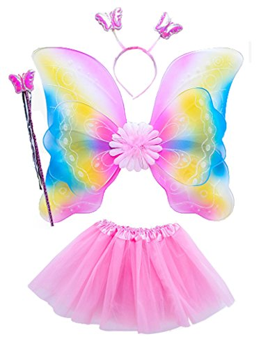 Lujuny Kid Fairy Wing Costume Set - Butterfly Wings Tutu Dress Magic Wand and Headband (RAINBOW PINK)
