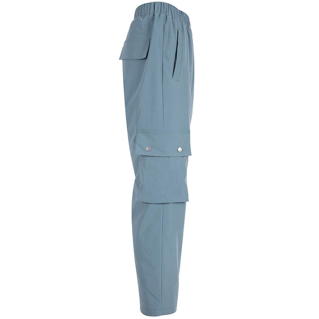Zipong Elastic High Waist Pants Casual Trousers Women Solid Straight Sweatpants Streetwear
