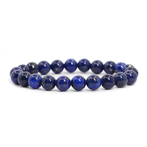 Dyed Lapis Gemstone 8mm Round Beads Stretch Bracelet 7