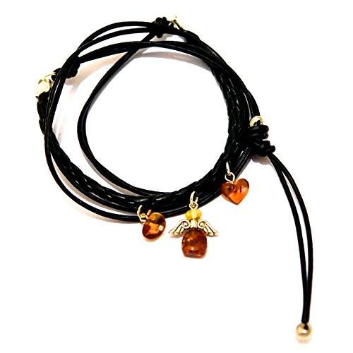Charm Choker-Wrap Bracelet with Amber Angel and Heart (Choker Amber)