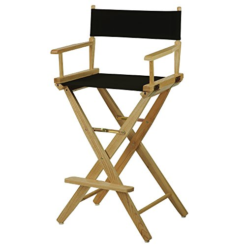 American Trails Extra-Wide Premium 30'' Director's Chair Natural Frame with Black Canvas, Bar Height by American Trails