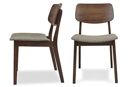 EDLOE FINCH - Mid Century Modern Dining Chairs Set of 2 - Upholstered Fabric Seat - MidCentury Walnut Wood - Light Grey