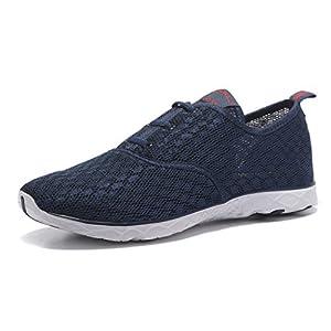 Kenswalk Men's Aqua Water Shoes Lightweight Slip On Beach Shoes (US 11, Navy Blue)