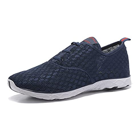 Kenswalk Men's Aqua Water Shoes Lightweight Slip On Beach Shoes (US 11, Navy Blue)