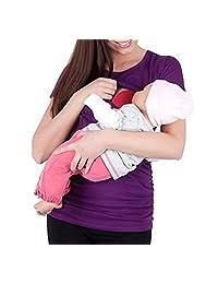 YUNAR Ladies Nursing Maternity Elastic Short Sleeve T-Shirt