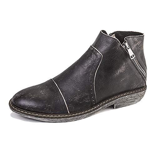 WKNBEU Chelsea Boots Uomo Marrone Nero Vera Pelle Vintage Business Formale Da Sposa Martin Booties Office Work Antiscivolo Zip Cerniera Black