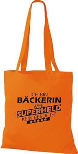 Shirtstown Stoffbeutel Ich bin Bäckerin, weil Superheld kein Beruf ist Orange
