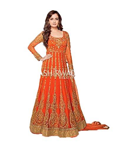 Ready-made-New-DesignerAnarkali-Bollywood-Suit-Bollywood-Dress-Indian-VF-MEDIUM-40-Orange