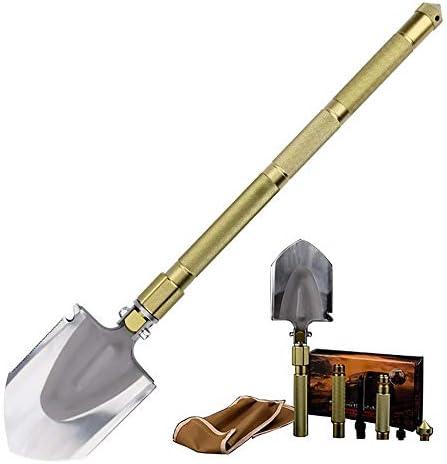 スコップ・シャベル 自己駆動キャンプワイルドポータブル機器折りたたみ軍用シャベル多機能アウトドアエンジニアリングシャベル 除雪、園芸、車載、アウトドア (Color : Gold, Size : 66.5cm)