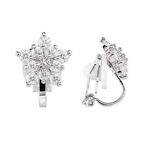 LAXPICOL Silver Tone Lovely Winter Snowflake CZ Zircon Clip-on Earrings No Piercing (Winter Earrings Snowflake)