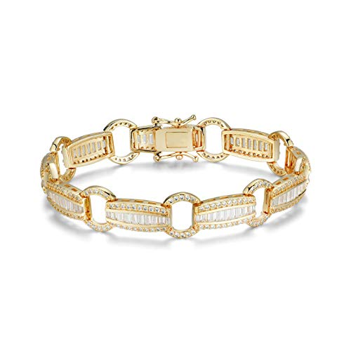 NYC Sterling Women's Cubic Zirconia Elegant Baguette Link Tennis Bracelet (Gold-Plated-Brass)