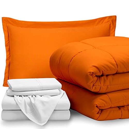 (Bare Home Bed-in-A-Bag 5 Piece Comforter & Sheet Set - Twin - Goose Down Alternative - Ultra-Soft 1800 Premium - Hypoallergenic - Breathable Bedding Set (Twin, Orange/White) )