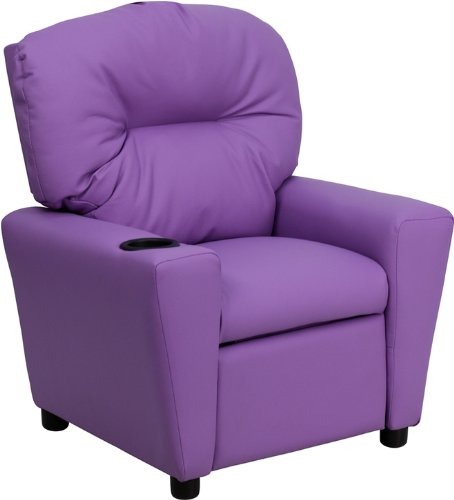Contemporary Lavender Vinyl Kids Recliner with Cup Holder ()