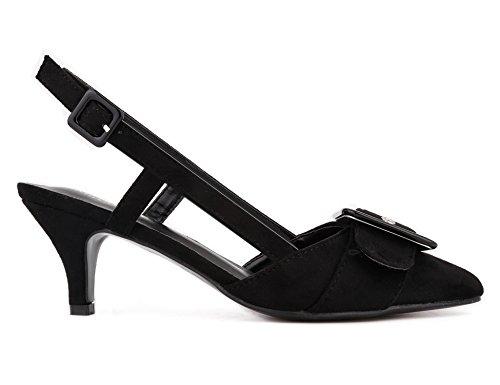 Mujer con Decorada de Hebilla MaxMuxun Negro Tacón Zapatos fY1vwqZ