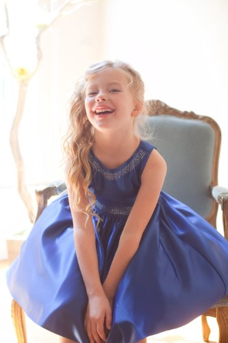 iGirlDess Satin Dress W/ Glitter Sparkle Accents Holiday Christmas Party Flower Girl Dress (2, Royal Blue)