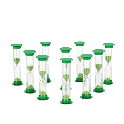Sand Timer Set Green 10pcs Pack (1 Minute) - Set of One Minute Hour Glasses for Kids, Adults - Comes in a Premium Box by Jade Active (Hour 1 Hourglass)