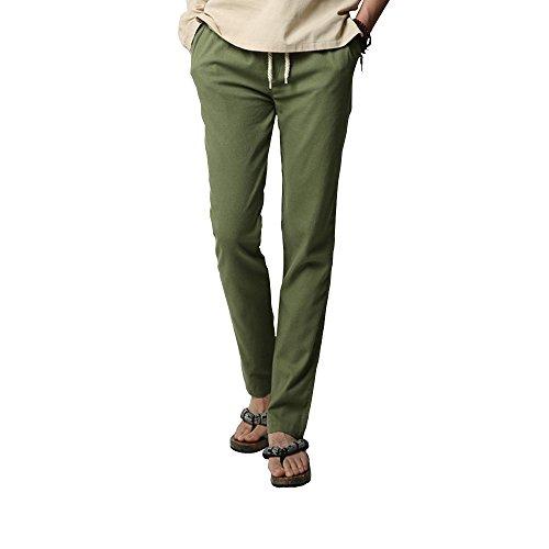 Loisirs De En Poches Serrage Pantalon Cordon Vert Elastique Respirant Homme Lin Ochenta Avec Taille XwqS4nHIx