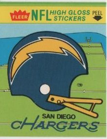1981 Fleer NFL Football San Diego Chargers Sticker/Schedule 1981 San Diego Chargers