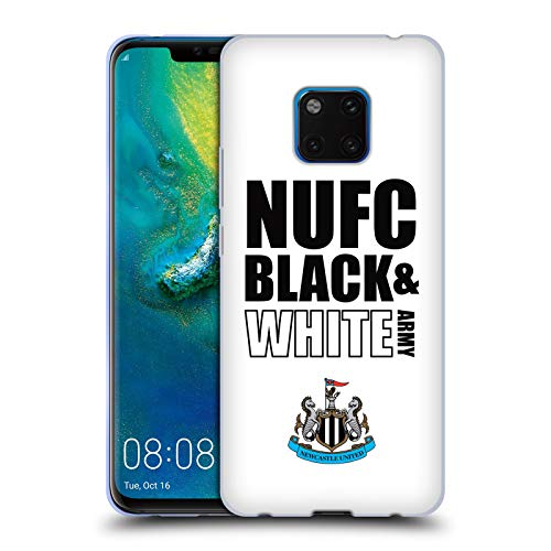 Official Newcastle United FC NUFC Team Army Black & White 2018/19 Crest  Typography Soft Gel Case for Huawei Mate 20 Pro