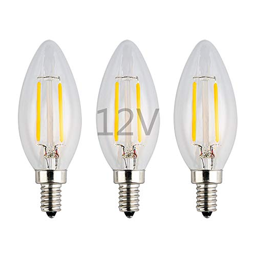 OPALRAY LED Candelabra LOW Voltage Bulb, DC 12V, 2W 200Lm, Dimmable, Warm White Light, E12 Candle Base, Clear Glass Torpedo Tip, 25W Incandescent Equivalent, 12-24Volts AC/DC Power, 3 Pack 12v Ac Incandescent Lamp