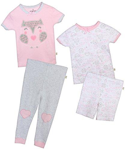 Duck Duck Goose Infant & Toddler Girls 4-Piece Snug Fit Summer Pajama Set, Owl, 18 Months' -