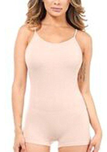 Karies Women's Cotton Spandex Sleeveless Spaghetti Strap Unitard Short Bodysuit Tank Catsuit Romper Nude S