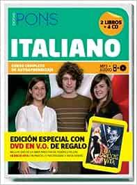 Curso Completo Pons Italiano 2 libros + 4 CD + DVD Pons