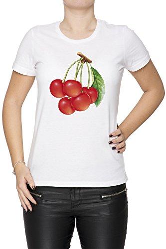 Cerise Blanc Coton Femme T-shirt Col Ras Du Cou Manches Courtes White Women's T-shirt