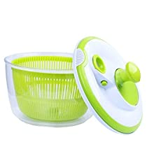 Powpro Salad Spinner and Vegetables Dryer Quick DryDesign BPA Free Dry Off & Drain Lettuce and Vegetable -4.5 Quart Large Capacity & Dishwasher Safe(Green) (G1)