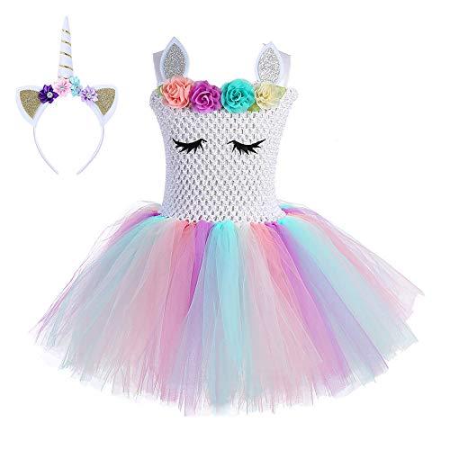Disfraz De Unicornio Princesa Tutú Vestido Infantil Flores Carnaval Niña Disfraceslandia