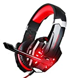 BlueFire Stereo Gaming Headset for PS4, PC, Xbox One Controller, Noise Cancelling Over Ear Headphones with Mic, LED Light, Bass Surround, Soft Memory Earmuffs for Laptop Nintendo Switch (Black-Red)