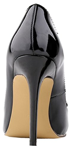 Harshiono Vrouwen Lakleer Boog Hoge Hakken Stiletto Slip Op Feest Bruiloft Werkpompen Schoenen (zwart)