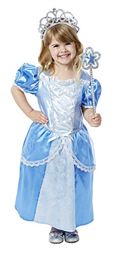Melissa & Doug Royal Princess Role Play Costume Set (3 pcs) - Blue Gown, Tiara, (3 Person Halloween Costume Group)