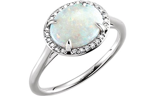 14K White Gold, Opal Cabochon and Diamond Oval Halo Ring, Size 7 by The Men's Jewelry Store (for HER)