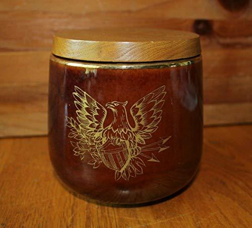 - Deco Tobacco humidor Jar eagle crest ceramic porcelain jar wooden lid vintage