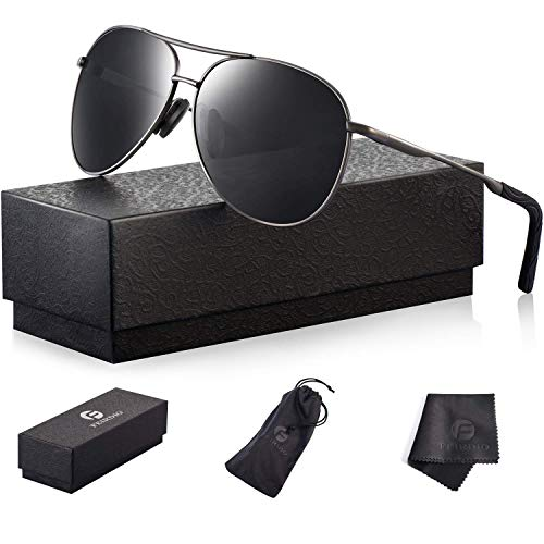 Polarized Aviator Sunglasses for Men - Feirdio Metal Frame Sports UV 400 Protection Mens Women Sunglasses 2261 (black/Gun, ()
