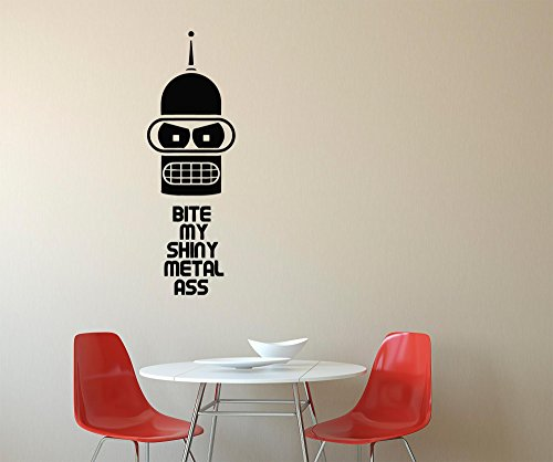 Assorted Decals | Futurama Keep Calm and Bite My Shiny Metal Ass Robot Bender Bending Rodriguez Bending-Unit 22 Wall Decals Decor Vinyl Sticker ()