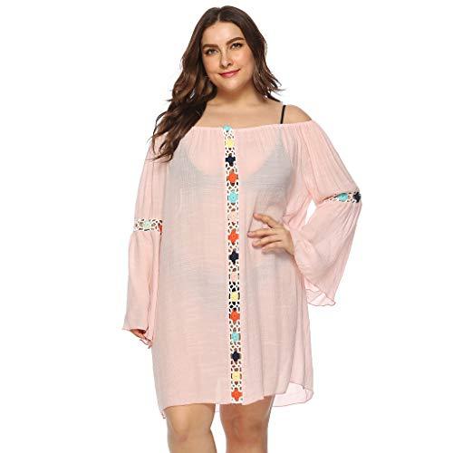 Keliay Dress for Women Summer,Women Bathing Cover Up Bikini Swimsuit Swimwear Crochet Smock Beach Cover Up Pink