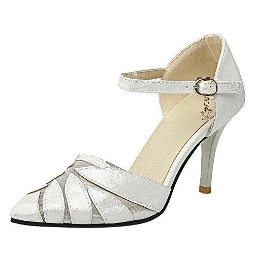Mee Shoes Damen ankle strap Mesh high heels Pumps Weiß