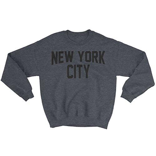 New York City Sweatshirt Screenprinted Dark Heather Charcoal NYC Lennon Shirt (Small) (New City York Sweatshirt)
