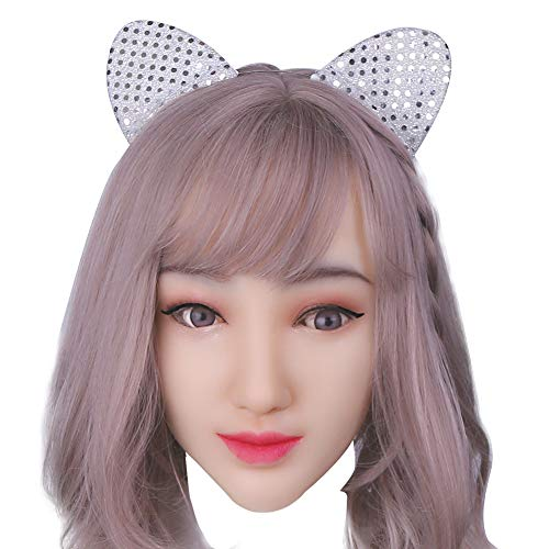 Soft Silicone Realistic Female Head Mask Handmade Face for Crossdresser Transgender Halloween Costumes 1G Tan -