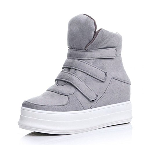 Boots Grey Aisun Heighten Platform With Fashion Ankle Velcro Tapes Booties Women's wxSfxqYBU